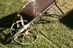 One of the oldest wheelbarrows available at Leo's Wheelbarrow Rental. But not for long