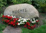 Gravestone and adornment for Hughes (no relation).