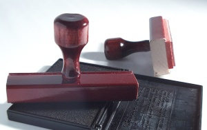 Stamp and rubber-stamp were in a boat. Stamp fell out. (Pete Repeat/Inkpad)